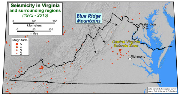 Location of earthquake epicenters (1973 – 2016). The 2011 Virginia earthquake (Mw = 5.8) occurred in the central Virginia Seismic Zone. Notice the paucity of earthquakes in the Blue Ridge Mountains.