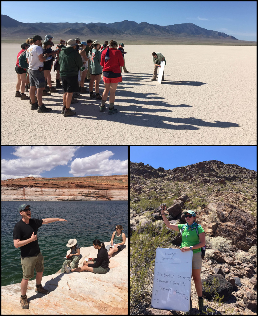 Teaching Moments: top- Becky Jirón and an attentive group at Wah Wah playa, lower left- Jim Kaste holds forth on Lake Powell's 'bath tub rim', lower right- Megan Flansburg discusses the finer points of volcanic rocks at McHeffy Butte.