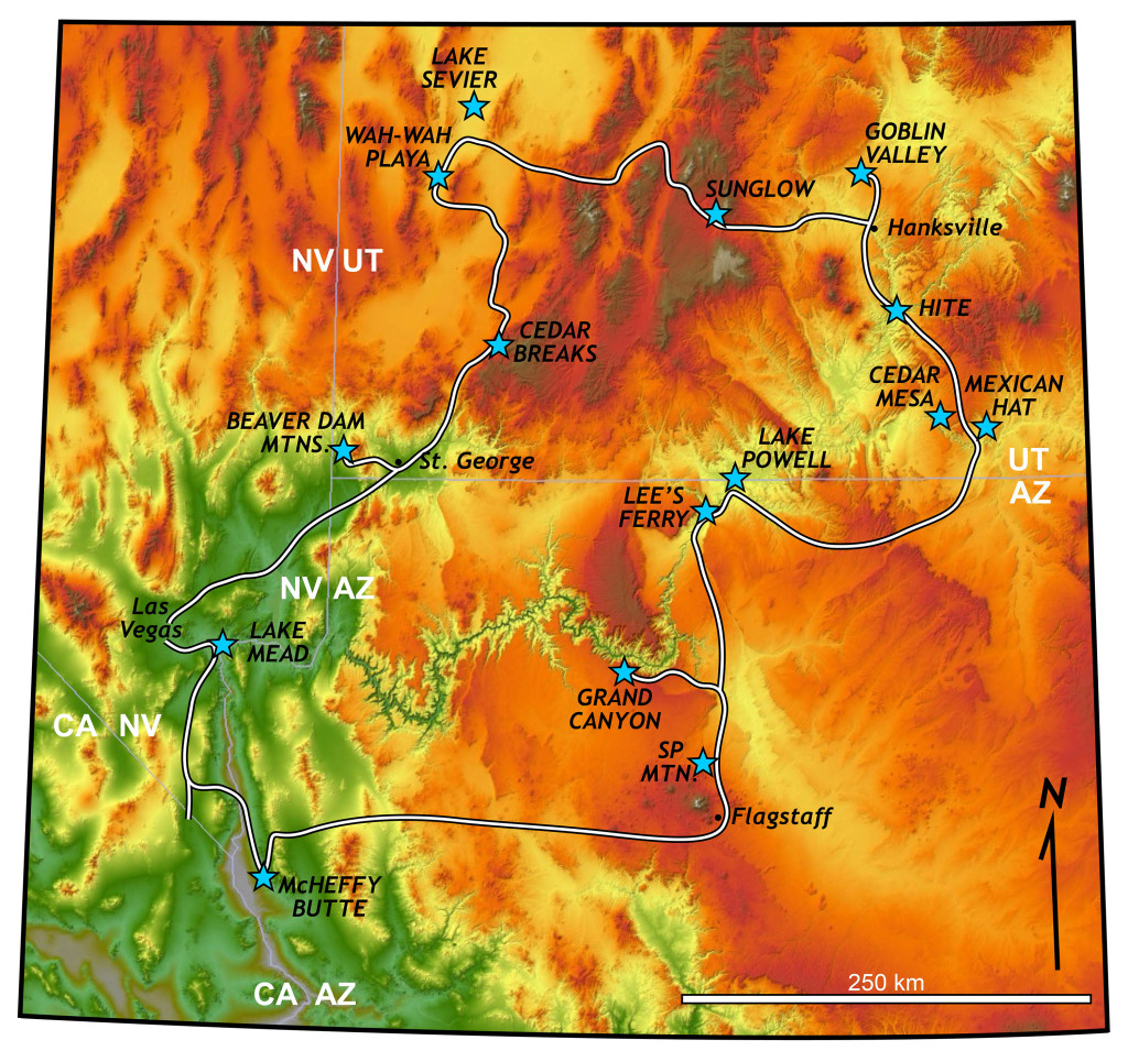 Shaded relief map of the 2016 William & Mary Geology 310 course's route across Nevada, Arizona, and Utah.