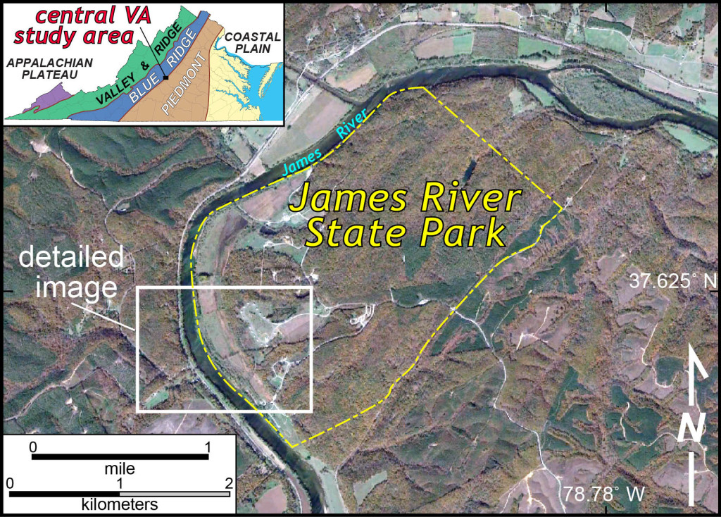 Locator map and aerial imagery of the James River State Park area in central Virginia.