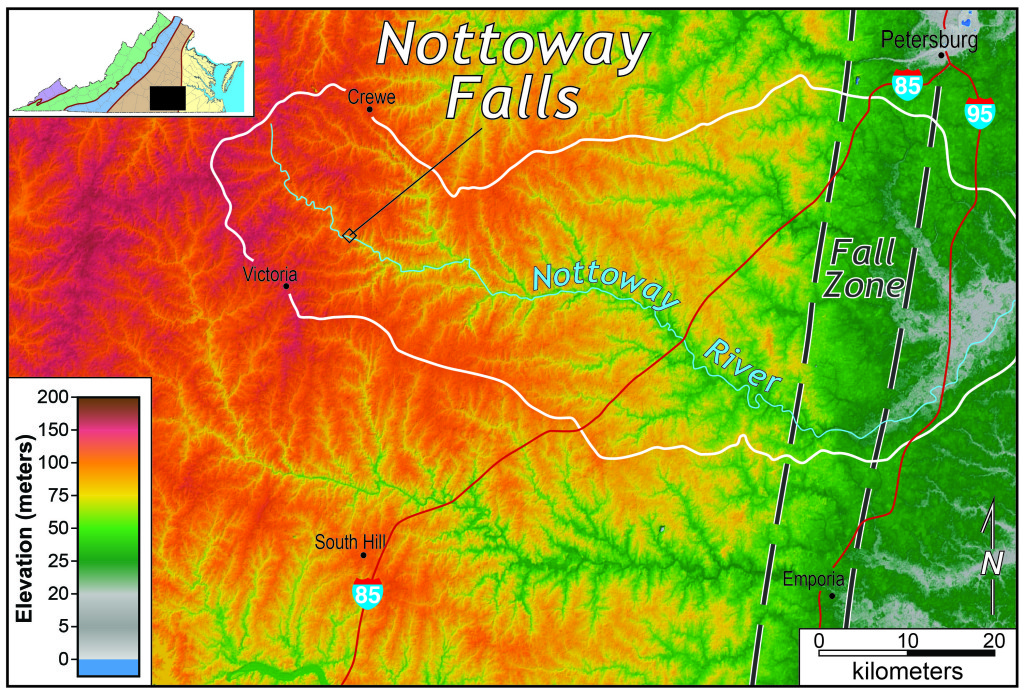 Shaded relief map of the upper Nottoway River watershed, south-central Virginia.