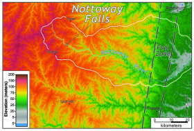 an elevation map of Nottoway falls and nottoway river