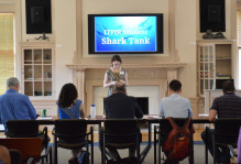 a student presents at student shark tank