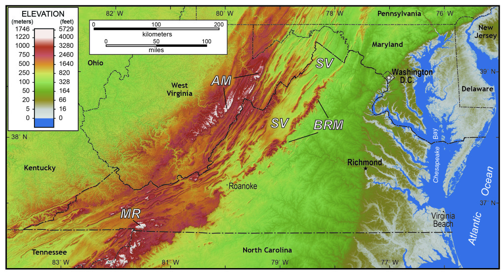 Shaded relief map of Virginia and the surrounding regions. AM- Alleghany Mountains, BRM- Blue Ridge Mountains, MR- Mt. Rogers (Virginia's highest point), and SV- Shenandoah Valley.