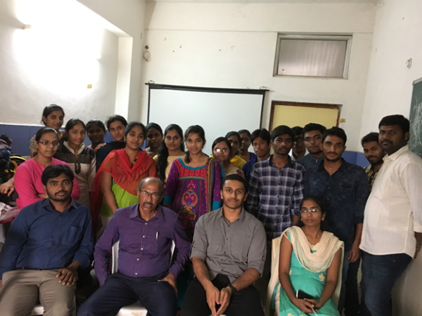 MBBS students standing behind Dr. Anand Reddy. Sitting next to Dr. Anand Reddy and I are the two PG students Laxman and Pranitha. Off to the side are the house surgeons Raghava (in the white shirt) and Manohar babu (behind Raghava).