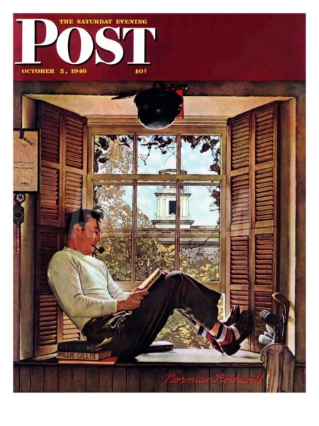 This 1941 Norman Rockwell image, depicting a romantic view of college life during that period, was included in one of our weekly readings for the History of Higher Education course.