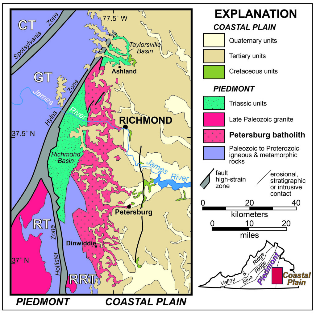 Generalized geologic map of the Petersburg batholith in east-central Virginia. CT- Chopawamsic terrane, GT- Goochland terrane, RT- Raleigh terrane, RRT- Roanoke Rapids terrane. Modified from Owens, B.E., Carter, M., and Bailey, C.M., 2017, Geology of the Petersburg batholith, eastern Piedmont, Virginia, in Bailey, C.M., and Jaye, S., eds., From the Blue Ridge to the Beach: Geological Field Excursions across Virginia: Geological Society of America Field Guide 47, p. 123–133 doi:10.1130/2017.0047(06)
