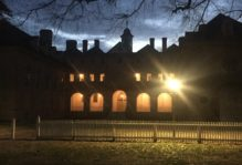 The wren building at night
