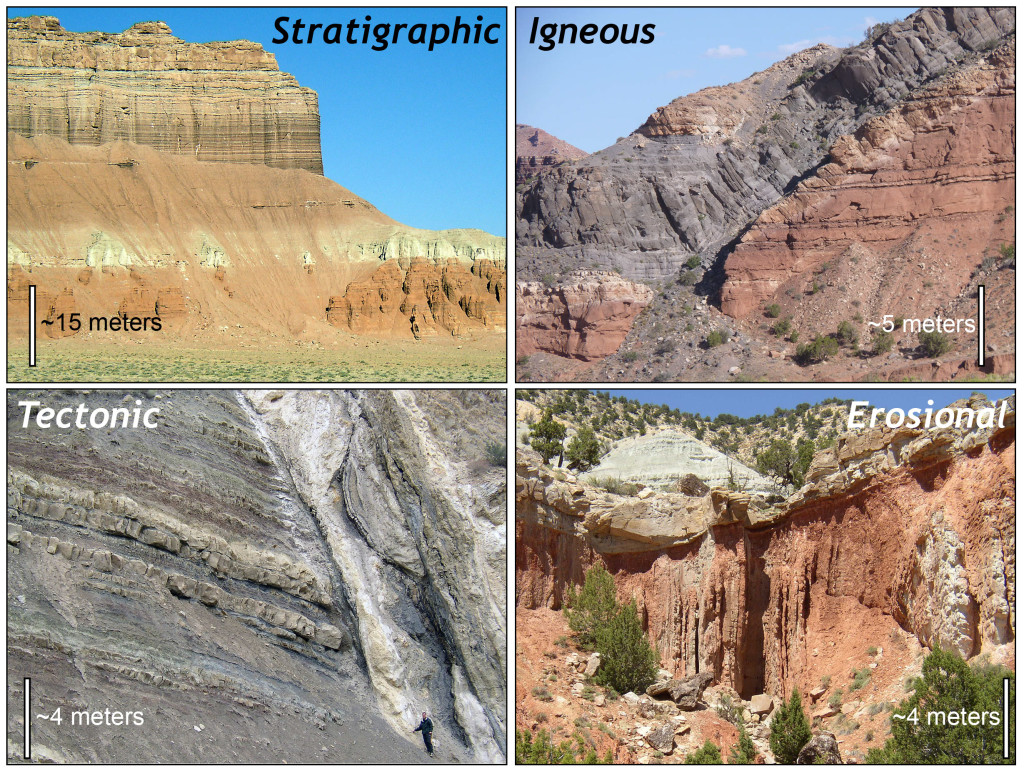 Types of geologic contacts: Stratigraphic contacts from Goblin Valley, Utah. Igneous contacts from Capitol Reef National Park, Utah. Tectonic contact from Cedar Canyon, Utah. Erosional contact near Salina, Utah.