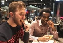 John and Kalide eating fries