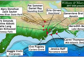 Map illustrating the study areas of William & Mary Geology undergraduates that presented their research at the Geological Society of America's Southeastern Section meeting in March 2017.
