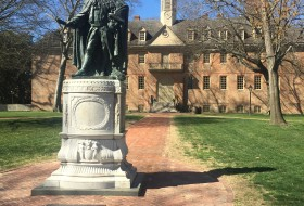 a picture of the statue in front of the wren building