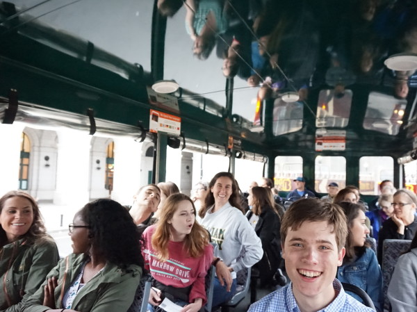 students on a bus during the DC Summer program
