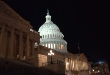 A night view of the Capital Building on Capital Hill