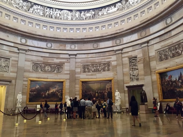 a view of the paint gallery inside a dome of the capital building