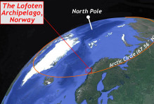 An image of the North Pole, labeled