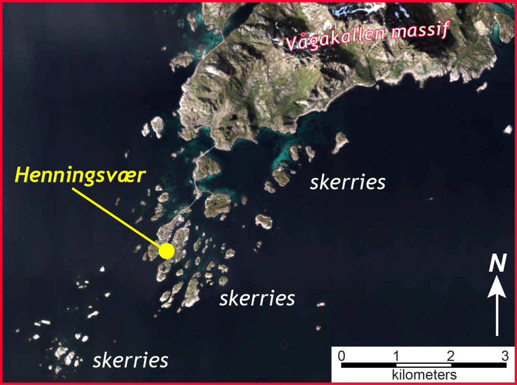 Annotated aerial image of Henningsvær (modified from Norgeskart website: https://www.norgeskart.no/)