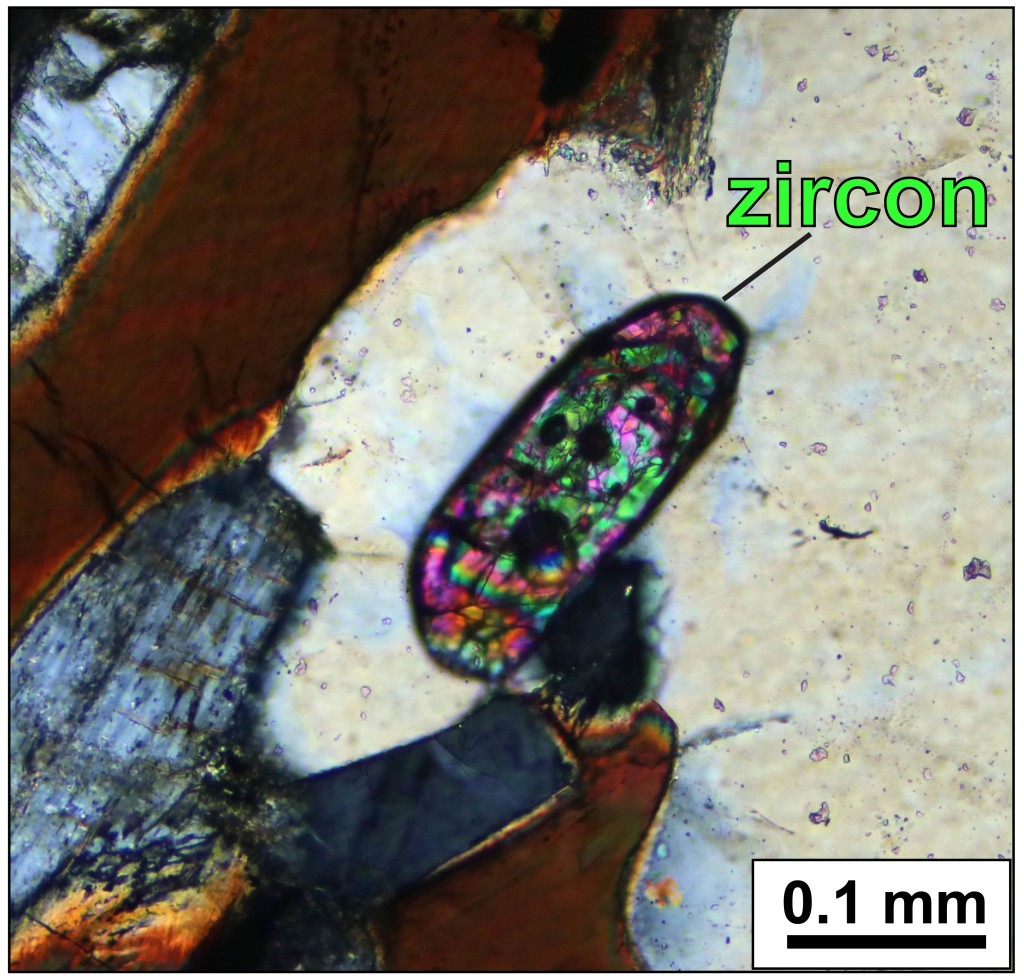Close-up view of a zircon crystal in a Blue Ridge basement rock. Other visible minerals include quartz, feldspar, and biotite. Cross-polarized light.