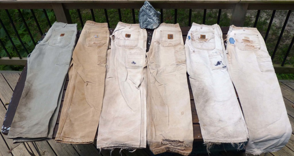 My well-utilized field britches are dungarees made by Carthartt. The pants get older from left to right.