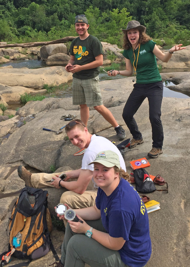 Happy W&M geologists on the outcrop at Belle Isle, Richmond. From bottom to top: Katie Lang, Mark Simonds, Katie Valery, and Richard Watson.