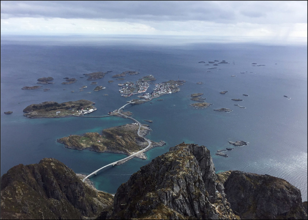 View from the summit of Festvågtind (541 m) of Henningsvær and the surrounding skerries stretching towards Vestfjorden. View is to the southwest.