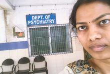 This is the hall of the psychiatry department in the Santhiram General Hospital in India.