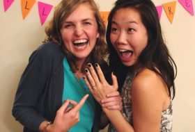 My roommate and I celebrate her engagement.