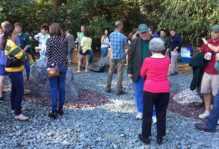 William & Mary geologists take in the new rock garden in the Crim Dell Meadow at Homecoming 2017.