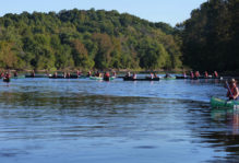 The W&M Geology flotilla afloat on the James River.