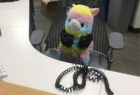 Stuffed Animal with headphones at the Reeder Media Center help desk