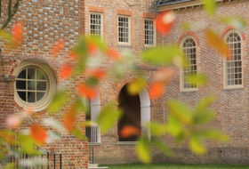 View of wren portico through fall leaves