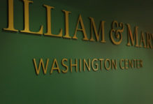 William & Mary Washington Center gold lettering on a green wall