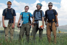 William & Mary geologists strike a pose after a long day of field work on the Fish Lake Plateau, Utah.