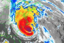 A radar map of Hurricane Gloria, 1985