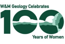 "Logo reads ""W&M Geology Celebrates 100 Years of Women"""