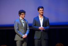 Alexander Nocks '19 and Adam Kearney '20 respond to questions at the Global Research Shark Tank competition