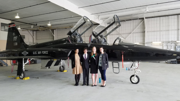 PIPS fellows Ranjani Parthasarathy '18, Alexander Nocks '19, Meg Miller '19, and Clara Waterman '20 pose with a USAF fighter jet after presenting their white papers in Washington, D.C.