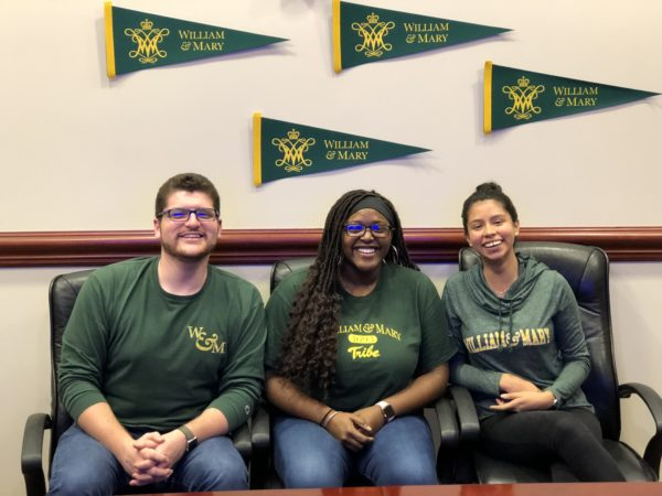 W&M student panel answering questions in an Undergraduate Admission YouTube live stream November 5, 2018