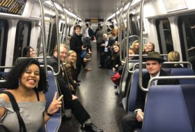 Students riding the Metro
