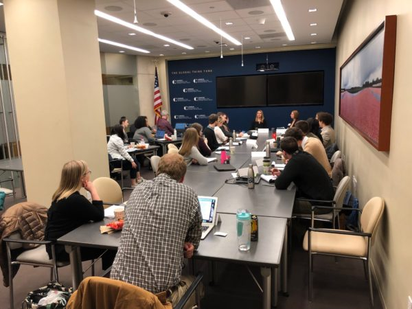 "Students listening to speakers at the Washington Center during their ""Foreign Policy: International Development and Security"" class in D.C. this Winter Break"