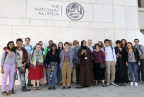 The 2019 Rock Music Oman class at the Oman National Museum with our capable and patient guide 'Azza Mu'aini (center).