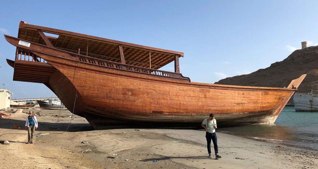 A newly crafted dhow beached at Sur.