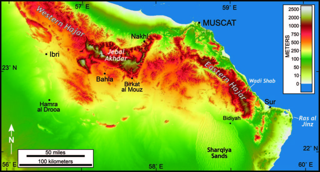 Shaded relief map of northern Oman (click on the image for a much bigger view).