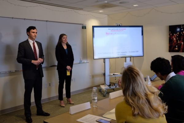 Caleb Rogers and his partner, Madeline Walker, presented on gender equality in politics
