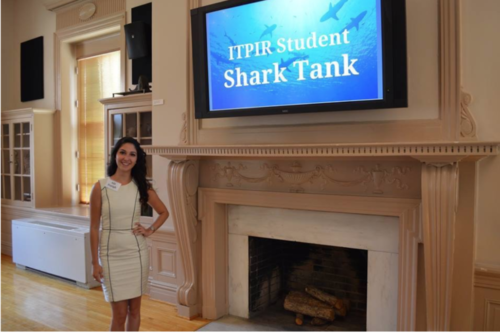 Aili presenting her work at the Institute's annual Shark Tank Competition.