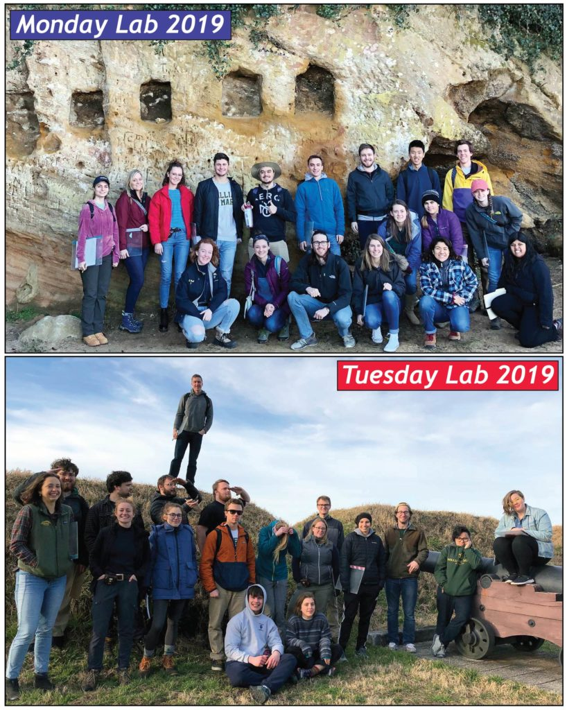 The 2019 William & Mary Earth Structure & Dynamics lab sections at Yorktown. The Monday lab at Cornwallis Cave and the Tuesday lab at the 2nd French Siege Line.