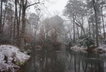 Snow on the Crim Dell bridge