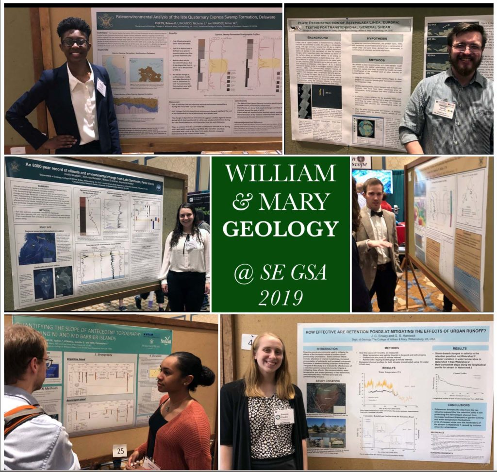 Clockwise from the upper left - Briana Childs, George Denny, a bow-tie clad Ben Landolt, Joanne Ensley, Bianca Boggs, and Emily Mushlitz presenting their posters. These were just a few of the William & Mary research posters presented at SE GSA 2019 in Charleston, South Carolina.