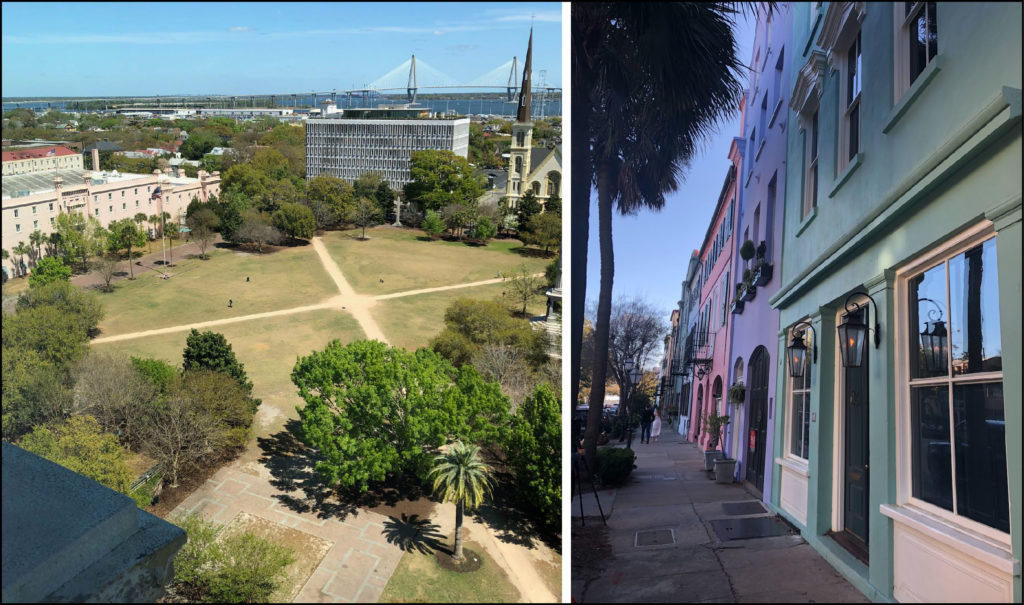 Left - a view of Charleston's Marion Square with the Arthur Ravenel Jr. Bridge over the Cooper River in the distance. Right - Charleston's Rainbow Row (photo courtesy of Briana Childs).