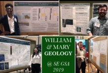 Clockwise from the upper left - Briana Childs, George Denny, a bow-tie clad Ben Landolt and Emily Mushlitz presenting their posters. These were just a few of the William & Mary research posters presented at SE GSA 2019 in Charleston, South Carolina.